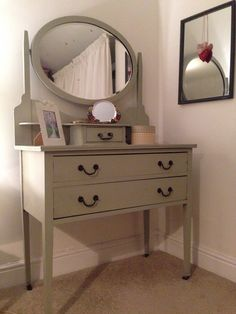 Dressing table painted in farrow and ball french gray. #upcycled #paintedfurniture #farrowandball