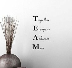 Amazon.com: Wall Vinyl Decal TEAM Together Everyone Achieves More Classroom sport football cute inspirational family love vinyl quote saying wall art lettering sign room decor: Home & Kitchen