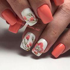50 Colorful and Floral Nail Designs - Nail Designs - Nail Art Acrylic Nails Natural, Summer Acrylic Nails, Spring Nails, Summer Nails, Flower Nail Designs, Cute Nail Designs, Floral Designs, Hot Nails, Hair And Nails