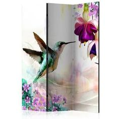 Vouno Hummingbirds and Flowers Room Divider Bay Isle Home Number of Panels: 3 Mystery Room, Marble Room, Decorative Room Dividers, 4 Panel Room Divider, Golden Tree, Colorful Abstract Art, Decoration Originale, Ideas Geniales, Wood Canvas