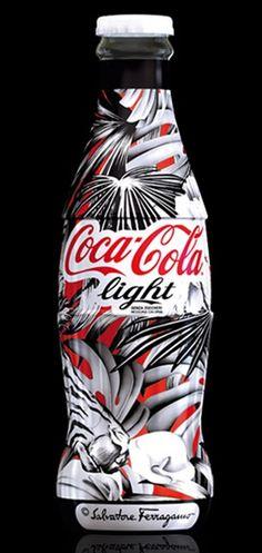 """2010 Coca Cola Light """"Tribute to Fashion"""" Limited Edition bottle designed by Salvatore Ferragamo"""