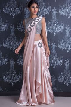 Buying it for you and Peach Cutdana Embroidered French Lycra Saree Online Saree Draping Styles, Saree Styles, Drape Sarees, Dhoti Saree, Lehenga Saree, Trendy Sarees, Stylish Sarees, Choli Designs, Saree Blouse Designs