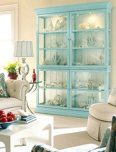 glass-display-cabinet by jamie meares, via Flickr - display all your shells and beach finds