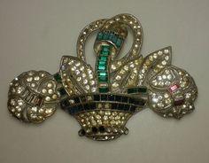 Antique Art Deco Costume Brooch Pin by AntiquariumMarket Vintage Rhinestone, Crystal Rhinestone, Paris Wedding, 1920s Art Deco, Silver Brooch, Flower Basket, Art Deco Jewelry, Floral Bouquets, Crystal Jewelry