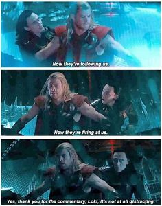 Loki ~ Thor ~ The Dark World, love this movie!!! Fun fact: there were no hydraulics in this set, so Chris and Tom just had to act like they were being jerked around