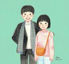 Reply1988 Deok Sun - Taek cartoon Sun Art, Cute Anime Wallpaper, Art Series, Lovers Art, Cute Wallpapers, Korean Drama, Chibi, Illustration Art, Parks