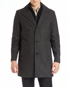 Men's | Wool | Single-Breasted Wool-Blend Coat | Lord and Taylor