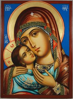 High quality hand-painted Orthodox icon of The Virgin Glykofilousa. BlessedMart offers Religious icons in old Byzantine, Greek, Russian and Catholic style. Religious Icons, Religious Art, Spiritual Paintings, Paint Icon, Blessed Mother Mary, Byzantine Icons, Figure Painting, Diy Painting, Madonna And Child