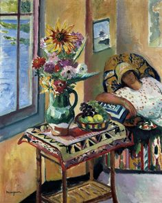 Henri Manguin (France 1874-1949) Intérieur, Lucile Manguin (fille de l'artiste) 1920   oil on canvas 92 x 72.8 cm