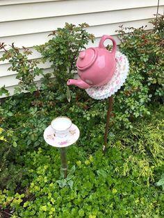 pink ruffles and roses birdfeeder by EviesElegantWhimsies on Etsy