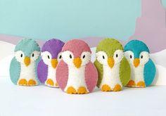 SALE  Pastel Penguin Family  5 Wool Felt Finger by stayawake, $35.00