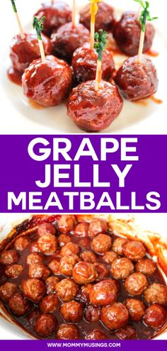 Grape Jelly Meatballs - Crockpot Party Meatballs with just 4 ingredients! #partyfoodideas #meatballappetizer #slowcookerrecipes #crockpotrecipes #appetizerideas #appetizerseasy