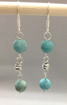 Turquoise Earring wire wrapped with Sterling by OritWhiteLight