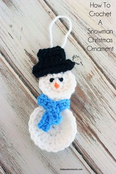 How to Crochet a Snowman Christmas Ornament. Free Pattern!