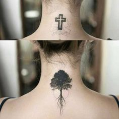 Great coverup photo of a cross tattoo to tree tattoo
