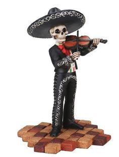 Skeleton Mariachi Band Violin Player Day of the Dead Dia de Los Muertos Figurine