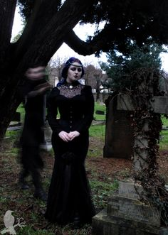 """corvuscoronefashion-photography:  I'm still reaching out for you… Another from our """"ghosty"""" graveyard shoot! In this one, though, you can tell that we were using a slow shutterspeed more than in the last XD Models: Jade Crimson (https://www.facebook.com/pages/Jade-Crimson/522042534536398) HeidiPhoto by Nik Facebook:https://www.facebook.com/CorvusCoroneFashionPhotography"""