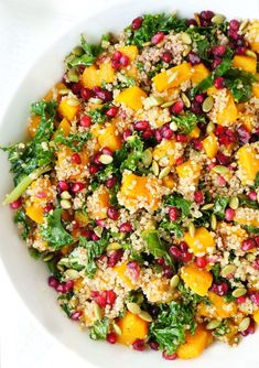 This Butternut Squash, Pomegranate & Kale Quinoa Salad is a gorgeous, vibrant and healthy side dish to serve at any occasion, but is especially appropriate during the Fall & Winter seasons. Make in advance to allow all of the flavours to intensify! {Gluten-free, Vegetarian & Nut-free}