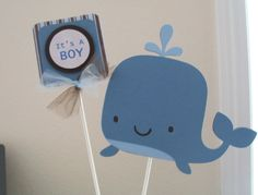 It's A Boy Whale Cake Topper Set  Boy Whale Baby by KatlinLee123