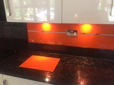 Designer Kitchen Glass Splashbacks, Worktops and Balustrades Glass Bathroom, Glass Kitchen, Coloured Glass Splashbacks, Orange Kitchen, Mirror Effect, Glass Coating, Sliding Wardrobe, Kitchen Upgrades, Shower Screen