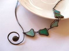Stained glass necklace copper wire jewelry by ArtemisFantasy, $75.00