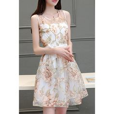 Trendy Scoop Neck Sleeveless Voile Splicing Floral Print A-Line Dress For Women #women, #men, #hats, #watches, #belts, #fashion