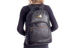 Mochila feminina de couro legítimo Andrea Vinci preta - Enluaze - Bolsas, mochilas, roupas e acessórios
