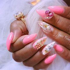 Image about pink in Nails by Paola Šneller on We Heart It Fabulous Nails, Perfect Nails, Gorgeous Nails, Pretty Nails, Sexy Nails, Dope Nails, Stiletto Nails, Fancy Nails, Coffin Nails
