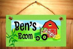 Kids Bedroom Farm Tractor DOOR SIGN in John Deere Green and Yellow Wall Art Decor on Etsy, $15.00