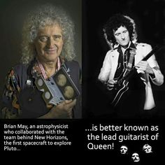 Brian May, an astrophysicist who collaborated with the team behind New Horizons, the first spacecraft to explore Pluto is better known as the lead guitarist of Queen! - Aleksandr - - Brian May, an astrophysicist who collaborated with th Queen Band, Pop Punk, Rainha Do Rock, El Rock And Roll, Queen Meme, Les Beatles, Roger Taylor, We Will Rock You, Queen Freddie Mercury