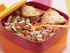 A medley of Mediterranean flavors perks up humble albacore tuna in this no-cook dish. It can be made ahead for a lunch-to-go or prepared for dinner. Just add the spinach and toss before serving. For sandwich variations, stuff the tuna mixture into whole wheat pita halves, or spread it between two baguette halves.