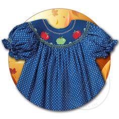 Apples Blue Polka Dot Smocked Bishop 14F 5115A