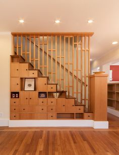 This Japanese Tansu cabinet-inspired stair combines storage, function, and elegance with a combination of bamboo and vertical grain Douglas fir to create a beautiful way to reach the new second floor of this Craftsman home in Berkeley, CA. Home Stairs Design, Home Interior Design, House Design, Living Room Partition Design, Room Partition Designs, Modern Stair Railing, India Home Decor, Staircase Storage, House Stairs