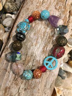 Beachy boho beaded bracelet /turquoise sea turtle/turquoise
