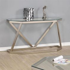 Contemporary Nickel Glass Metal Sofa Table