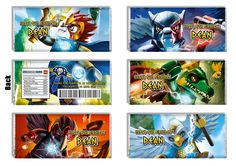 Legends Of Chima Candy Bar Wrappers - Chima Party Favors To Match Ninja Invitations - The Print Shoppe