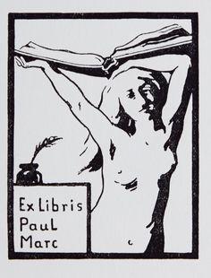 Exlibris Marc - Zwei lithographierte Exlibris.