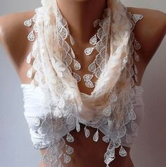 Shabby Chic Tulle Scarf - Perfect Accesory - Like a jewelry -Pale Salmon on Wanelo