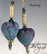 Artisan crafted blue lampwork heart earrings