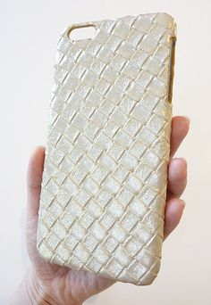 For Apple iPhone 6 Plus 5.5 Gold Leather Woven Phone Case by Yunikuna