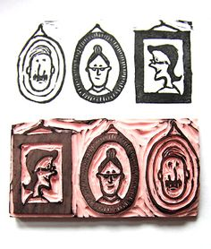 vvb: I like the idea of family portrait stamps.  //----------// Hand carved stamp . Klompstempel