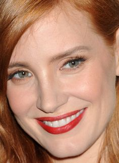 Close-up of Jessica Chastain at the Comic-Con 2015 press line for 'Crimson Peak'. http://beautyeditor.ca/2015/07/19/best-celebrity-beauty-looks-ashley-madekwe