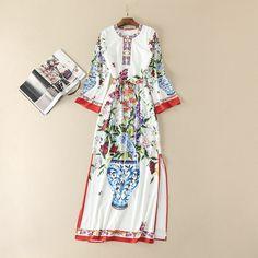 Europe style side slit dress 2017 Spring floral printing vintage dress fashion woman's full sleeve beading O-neck dress S-XL