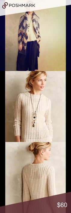Cozy Sweater Cozy sweater...great for layering. Soft and chic!!! Made of 38% acrylic, 37% wool, and 25% polyester. Super cute...just wish it would fit me😜 Anthropologie Sweaters Crew & Scoop Necks