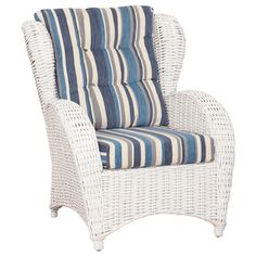 Mykonas Occasional Chair In White With Blue Stripe farpav.com.au now $299