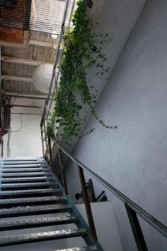 """This sturdy steel staircase is from our feature """"Loft of her Life"""""""