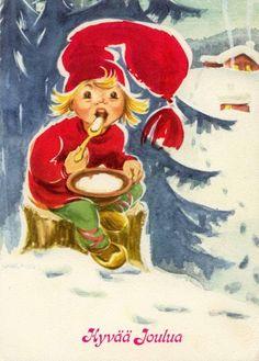 Irma Salmi Old Christmas, Christmas Cards, Gnomes, Finland, Disney Characters, Fictional Characters, Scandinavian, Disney Princess, Illustration