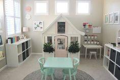 20 Fantastic Kids Playroom Design Ideas – Modern Home Playroom Design, Playroom Decor, Bonus Room Playroom, Small Playroom, Small Kids Playrooms, Playroom Color Scheme, Playroom Layout, Playroom Paint, Playhouse Decor