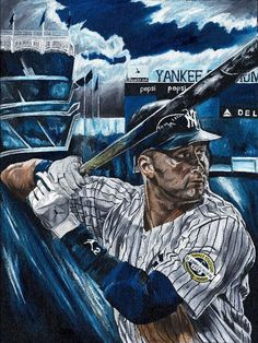 Oil painting depicting one of the greatest baseball players of all time. The yankees celebrated their brand new stadium with a MLB Championship. Baseball Posters, Baseball Art, Better Baseball, Yankees Baby, New York Yankees Baseball, Derek Jeter, Baseball Painting, Baseball Wallpaper, Mlb