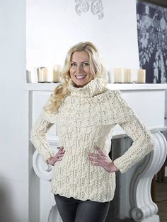 Ravelry: Cablewing Sweater pattern by Linda Marveng Cablewings surrounded by lace gives this sweater a flowery expression. The A-line shape with lace along each side, paired with the double round neckband, is a flattering on many bodies. The pullover is knitted in the round to the armhole in a classic cream colored pure wool with bounce, Embla from Hifa. A large matching wrap gives the sweater a regal look and it is warm, practical, but also decorative.